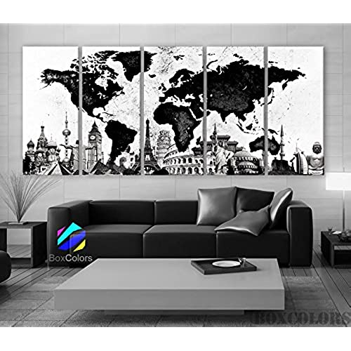 World map wall art amazon xlarge 30x 70 5 panels 30x14 ea art canvas print original wonders of the world map black white wall decor home interior framed 15 depth gumiabroncs Image collections