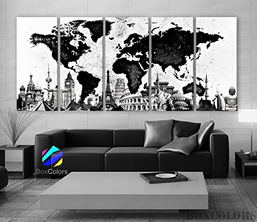 Xlarge 30'x 70' 5 Panels 30x14 Ea Art Canvas Print Original Wonders of the World Map Black & White Wall Decor Home Interior (Framed 1.5' Depth)