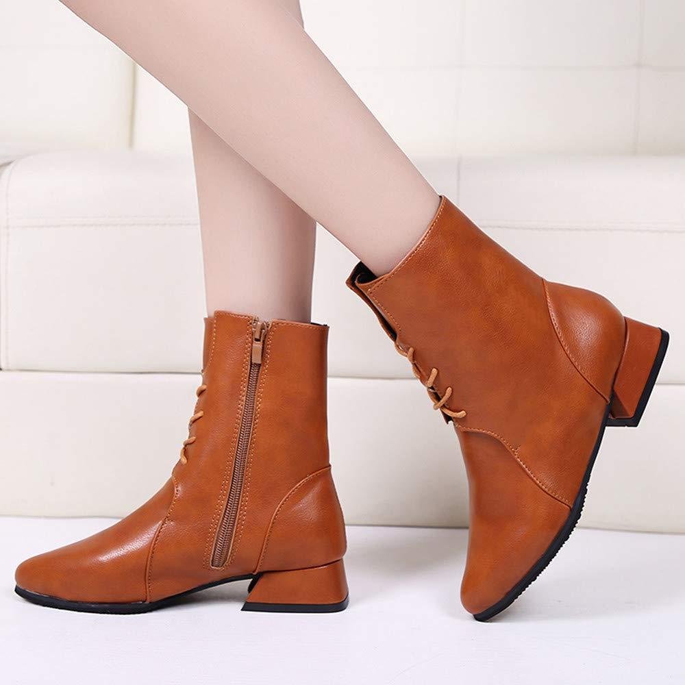❤ Botas para Mujeres Cremallera, otoño Invierno Punta Redonda Zapatos de Cuero Botines Planos con Cordones Botas Zapatos con Cremallera Absolute: ...