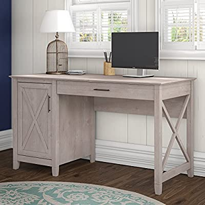 Bush Furniture Key West Collection 54W Single Pedestal Desk in Washed Gray - Durable work surface offers Plenty of room to spread out Pull out drawer with flip Down front is great for laptop storage or use as keyboard tray Storage cabinet has one adjustable shelf to accommodate storage needs - writing-desks, living-room-furniture, living-room - 51KbHaCaCzL. SS400  -
