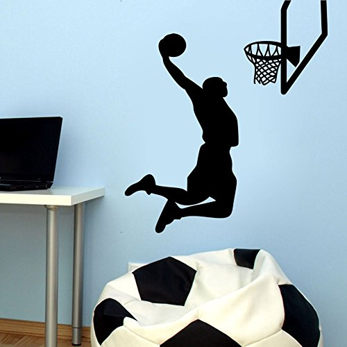 - YOYOYU ART HOME DECOR Home Decal Boy Room Sports Basketball Player Wall Decal Interior Design Shoot Basket Home Room Wall Decor Sticker Vinyl Sport Decal for Boys Bedroom (Black, 57x65cm Finished)
