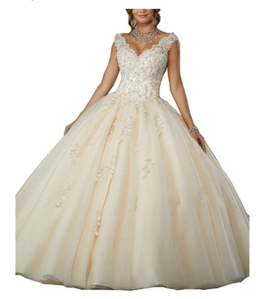 Champagne Aiyue Yishen VNeck Lace Appiliques Ball Gown 16 Quinceanera Backless Evening Dress