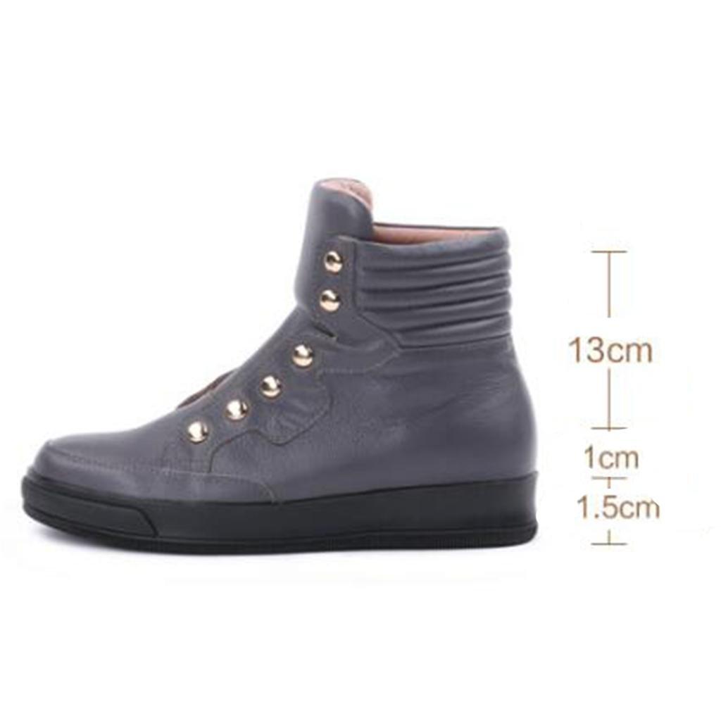 Amazon.com | L&L Botas de otoño e invierno para Mujer Botas salvajes Botas de Cuero de Gran tamaño Aumento femenino Botines 8061FD | Boots