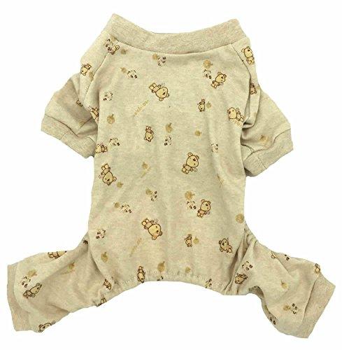 jamas 100% Cotton for Girl Small Dogs With Bear Print, Medium Beige (Bear Dog Pajamas)