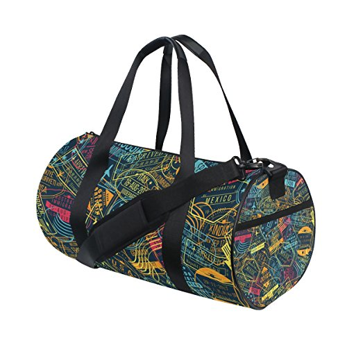 Passport Stamp Seamless Pattern Duffle Bag Sports gym Bag Luggage Travel Bag with Shoulder Strap by ALAZA