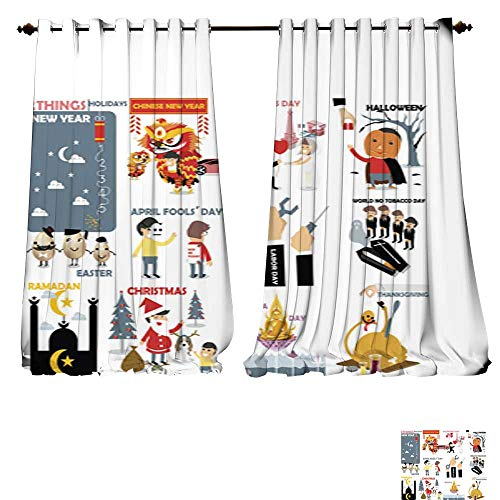 DESPKON-HOME Thermal Insulated Grommet Blackout Curtains Beautiful Graphic Design of 12 International Holidays for Bedroom -W84 x L96/Pair