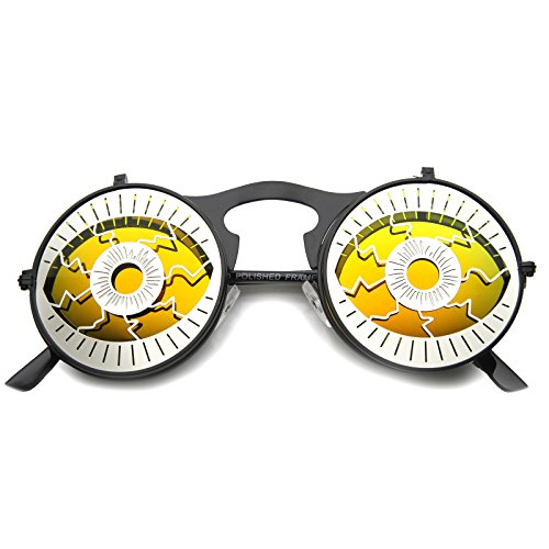 Party Eyeball Flip-Up Cover Colored Mirror Lens Round Novelty Sunglasses 47mm -