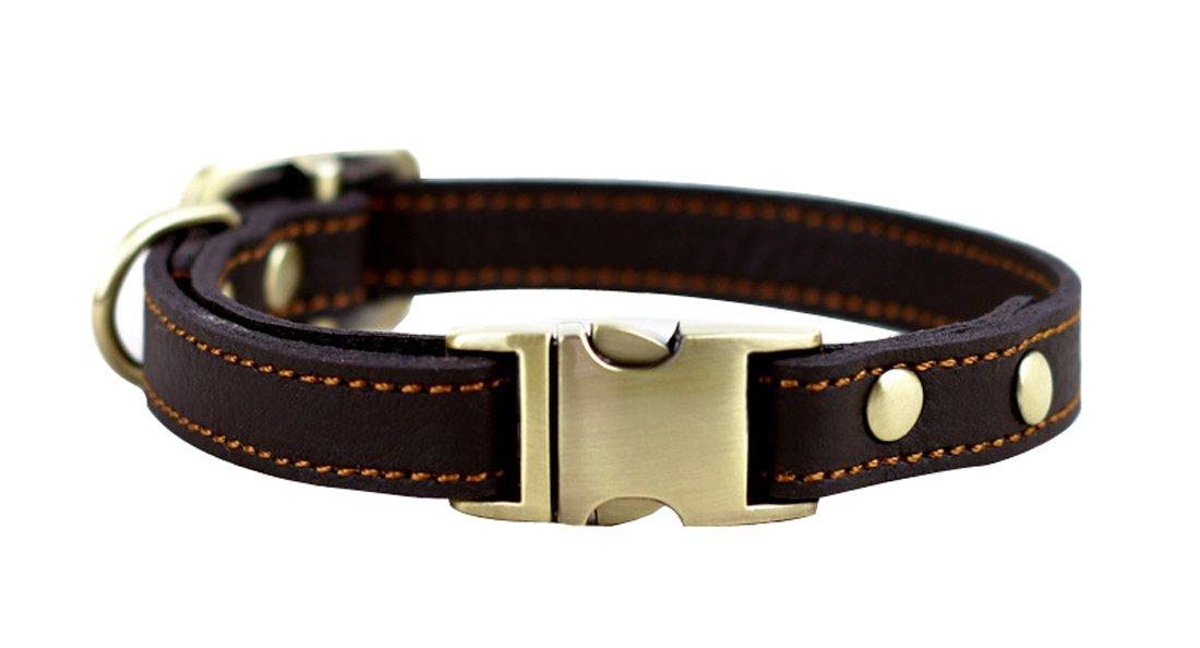Rantow Collier en cuir réglable durable confortable pour chiots ou chiens de petite taille, taille de cou réglable de 24,1cm à 33cm et 1,5cm de large (Marron) product image