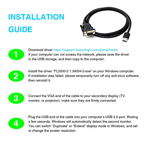 USB 3 0 to VGA Adapter Cable, Multi Monitor Display Video - Import
