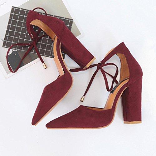OverDose Damen Sandalen Sommer Schuhe Damen Damen Pumps High-Heels Schuhe Wein