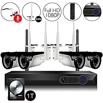 CAMVIEW Wireless Security Camera System 4pcs 1080P(2.0MP) WiFi CCTV IP Camera + 4CH HDMI NVR Home Video Surveillance System, Microphone Plug, Night Vision, ...