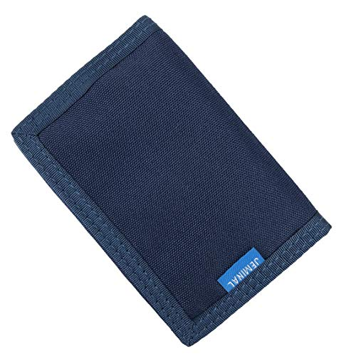 JEMINAL New Mens Canvas Trifold Wallets for Boys Purse with id window (01 - Blue + RFID Blocking (Upgrade 2.0))