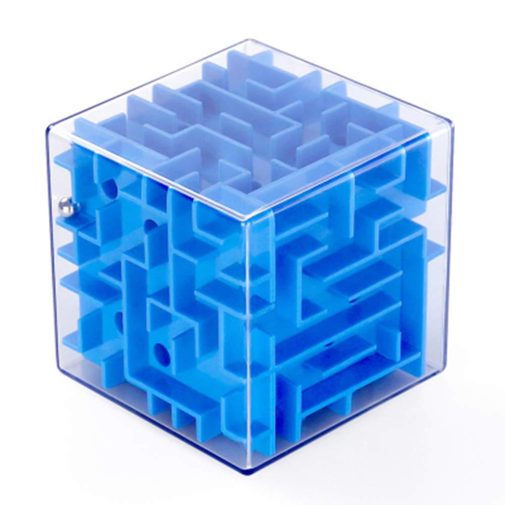 SHENSHOU Kinder Puzzle Zauberwürfel 3D Maze Rolling Beads Frühe Bildung Intelligenz Rubik Spielzeug, Blue, S