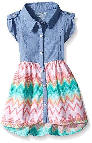 CHEROKEE Toddler Girls' Chambray Dress with Challis Skirt, Blue, 12M (Chambray Dress For Girls)
