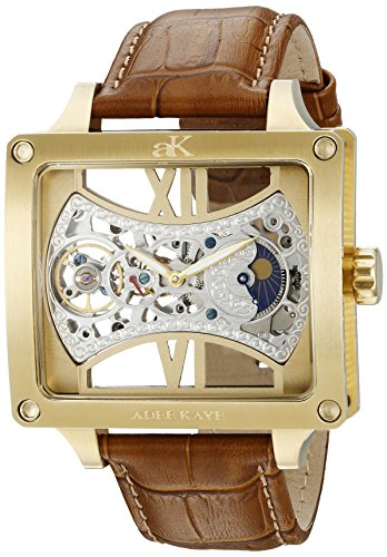 Adee Kaye Men's 'MASCULUM COLLECTION' Mechanical Hand Wind Stainless Steel and Leather Casual Watch, Color:Brown (Model: AK2297-MG)