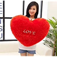 Frantic Huggable Heart Shape Soft Plush Stuffed Cushion Pillow Toy in Red Color (Design 3)