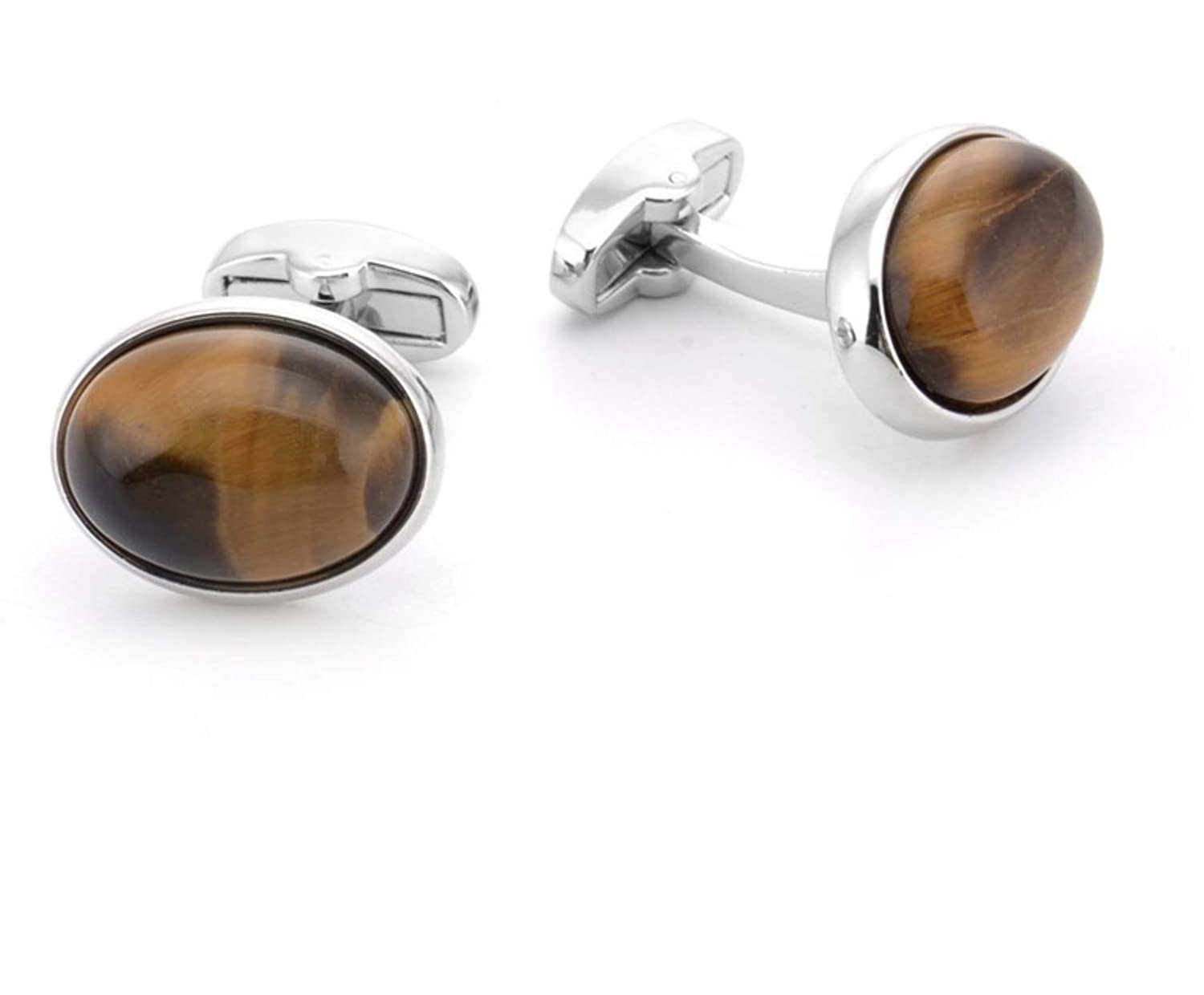 JUNYONG Amber Tiger Eye Stones Small Natural Button Cufflinks Stainless Steel