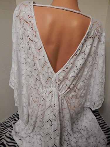 Victoria's Secret Swim Cover-up Double-V Lace White Floral Lace size LARGE