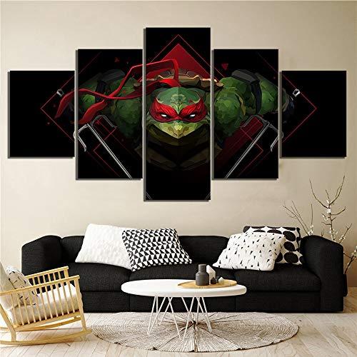 kkxdp Frameless Wall Art Modular Pictures 5 Pcs Teenage Mutant Ninja Turtles Poster Canvas Printed Home Decor Painting Living Room Framework-A -