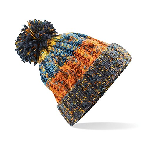 Beechfield Unisex Adults Corkscrew Knitted Pom Pom Beanie Hat (One Size) (Retro Blue)