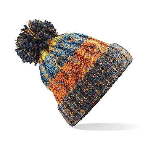 Beechfield Unisex Adults Corkscrew Knitted Pom Pom Beanie Hat (One Size) (Retro Blue)