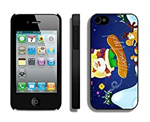 Iphone 4S Case,Sliding Plate Christmas Santa Claus Silicone Black Case For Apple Iphone 4/Iphone 4s Cover Case by Maris's Diary