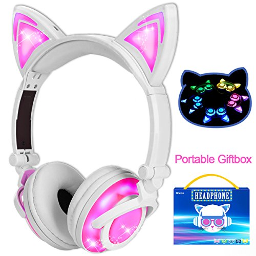 Qiwoo Kids Headphones with Cat Ear USB Rechargeable Adjustable LED Light Up Wired Over Ear Headphones 85dB Volume Limited Compatible for iPad Tablet for Easter Theme Party Favor (Adjustable Overhead Headphones)