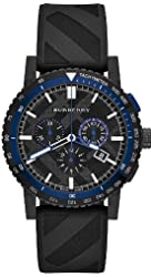 Burberry The City Chronograph Black Dial Black Rubber Mens Watch BU9806