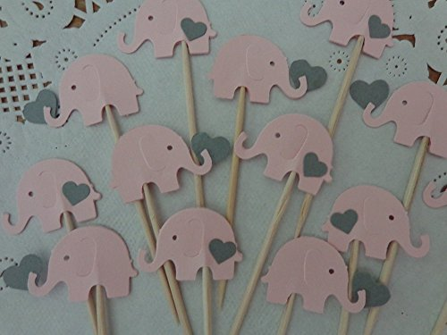 Light Pink Elephants with Grey Hearts Cupcake Toppers - NEW Larger Size 1.5