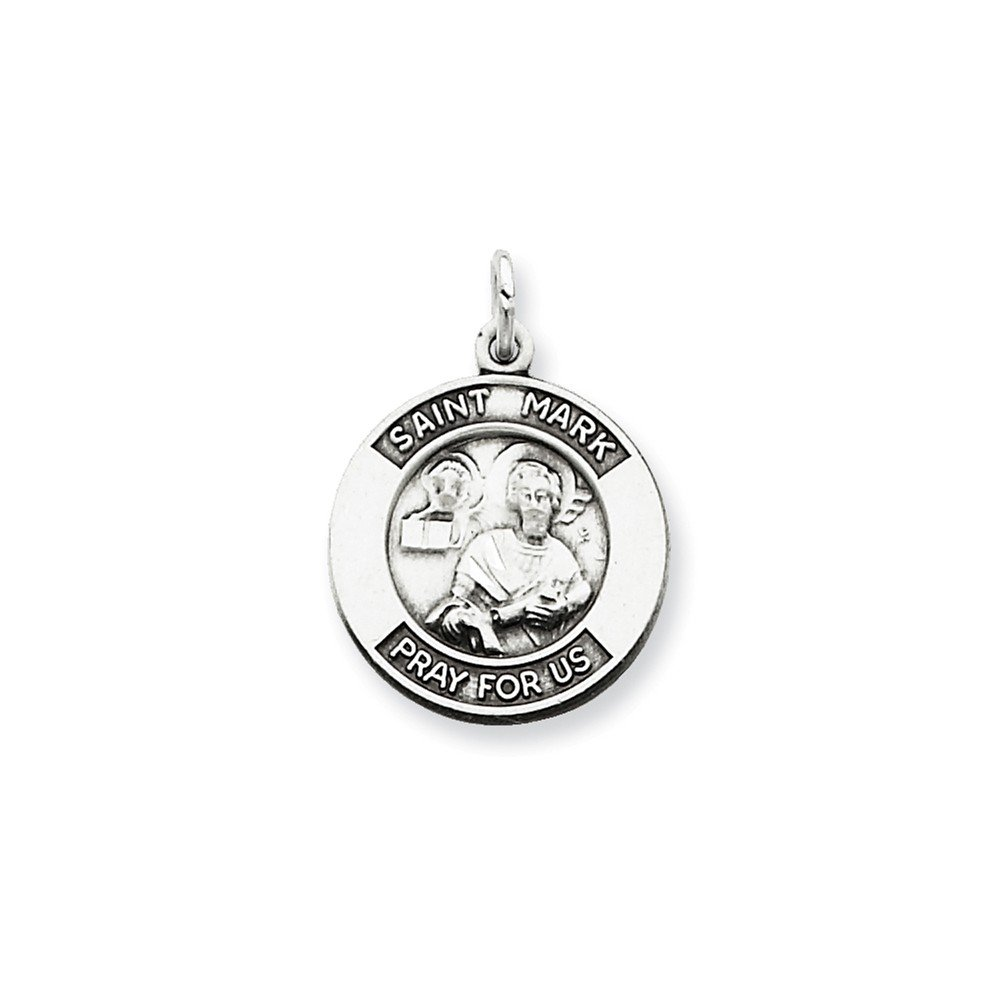 21mm x 16mm Mia Diamonds 925 Sterling Silver Antiqued Saint Mark Medal