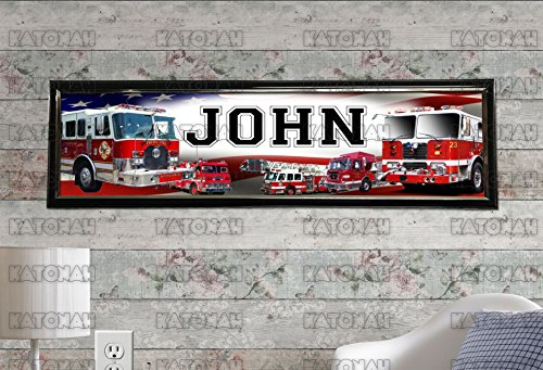 Customized Name Painting Fire Trucks Poster With Your Name On It Personalized Banner With Hard Frame