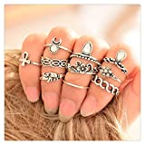 Doinshop Retro 10Pcs/ Set Boho Style Arrow Moon Midi Finger Knuckle Rings