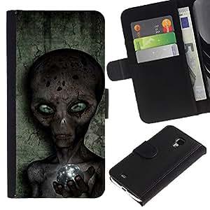 For Samsung Galaxy S4 Mini i9190 MINI VERSION!,S-type® Sci-Fi Ufo Conspiracy Grey - Dibujo PU billetera de cuero Funda Case Caso de la piel de la bolsa protectora