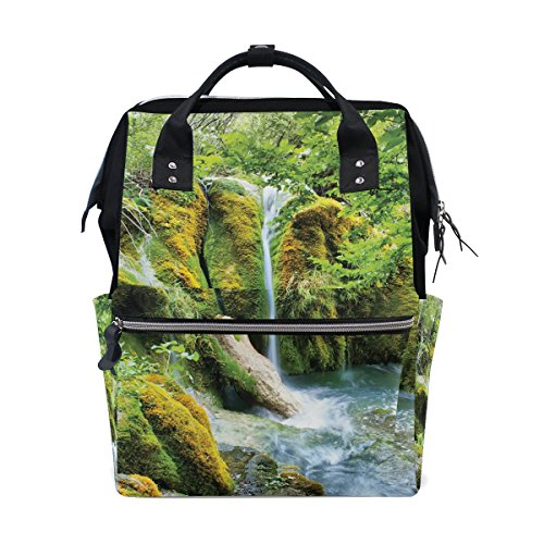 Women Casual Backpack Amazing Waterfalls School Bag Wide Open Work Doctor Style Daypack Canvas for Ladies Girls (Waterfall Model Used)
