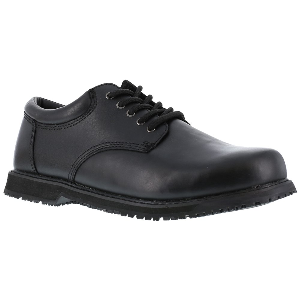 Grabbers Men's Friction Plain Toe Oxfords, Black Leather, Rubber, 17 W