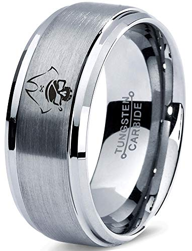 Zealot Jewelry Tungsten Pirate Skull Hat Bone Patch Band Ring 8mm Men Women Comfort Fit Gray Step Bevel Edge Brushed Polished Size 10