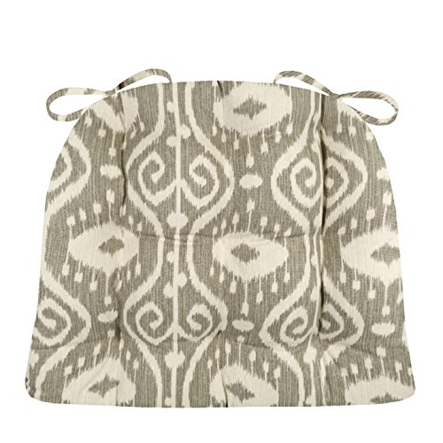 Barnett Products Dining Chair Pad with Ties - Bali Ikat Stone Grey - Standard Size - Reversible, Tufted, Latex Foam Filled Cushion (Stone Grey, Standard)