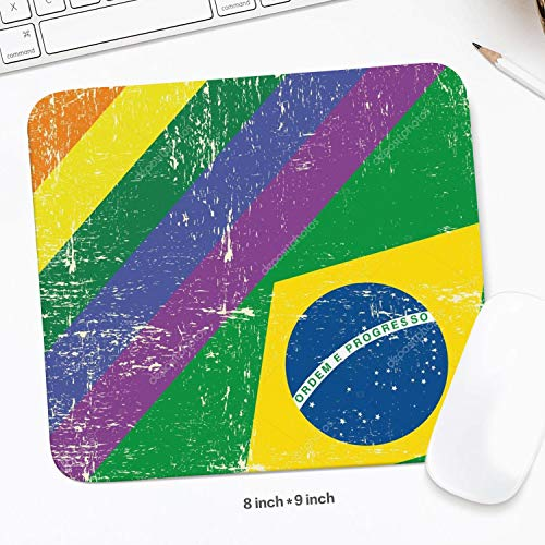 Mouse Pad Non-Slip Mouse Mat Laptop Brasil E A Bandeira Gay Grunge Printed Pad