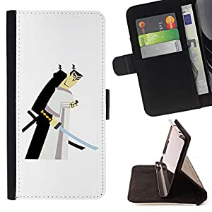 For LG G4 H815 H810 F500L Samurai Swordsman Japanese White Style PU Leather Case Wallet Flip Stand Flap Closure Cover