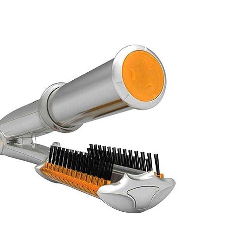 2 en 1 LCD giratorio rizador y alisador de hierro, cepillo eléctrico automático de rizado