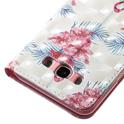 Lotuslnn Samsung J7 2016 caja del teléfono, caja de cuero de la PU cubierta de cierre magnético cubierta con Kickstand y ranuras para tarjetas de bolsillo en efectivo para Samsung J7 2016 - Flamingo p Flamingo pink