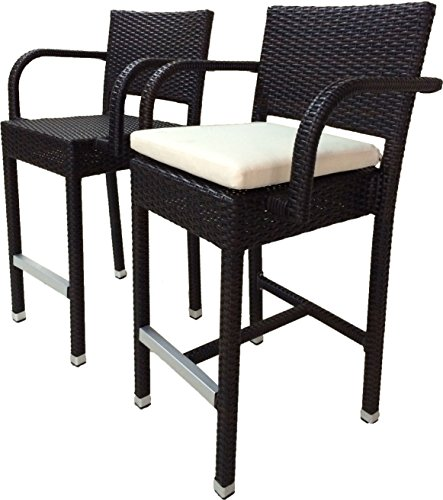 SunFlower Wicker Patio 30 inc Bar Stool with Cushion (Set of 2)(Espresso) (Storage Stool Sunflower)