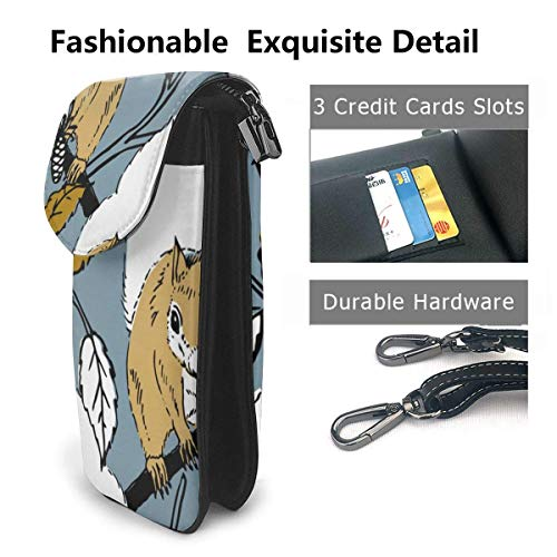 Hdadwy mobiltelefon crossbody väska söt ekorre kvinnor PU-läder mode handväska med justerbar rem
