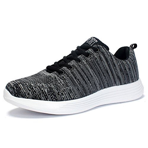 Leaproo Damen / Herren Knit Sneakers Breathable Casual Leichte Athletische Mesh Road-Laufschuhe Grau