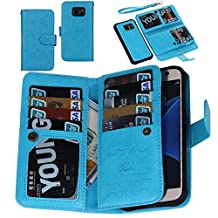 Juzi S7 Case, Premium Wallet Leather Credit Card Flip Folio Case by - Detachable Magnetic Back Cover with Lanyard Wrist Hand Strap for G930 Samsung Galaxy S7 (Blue)
