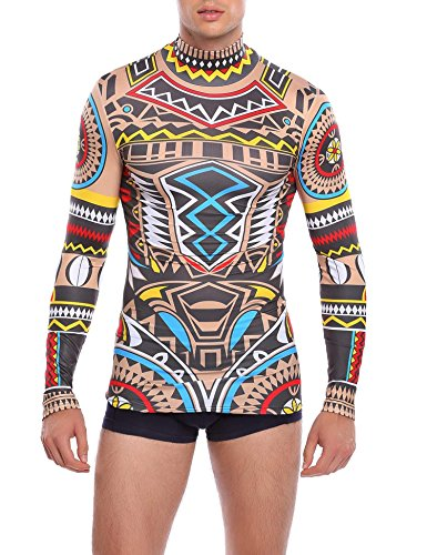 COOFANDY Mens Halloween Slim Fit African Tribal Tattoo T-Shirt Maui Printed Nude Shirt, Pattern, X-Large -
