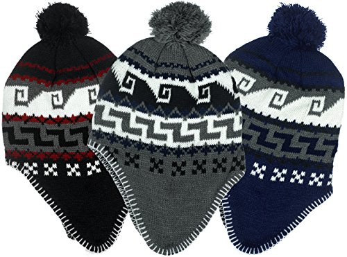 Boys Micro-Fleece Lined Knit Hat with Ear Flaps and Pom Top 3 Colorful Patterns (B7C1696 Black Red) (Three Flap)