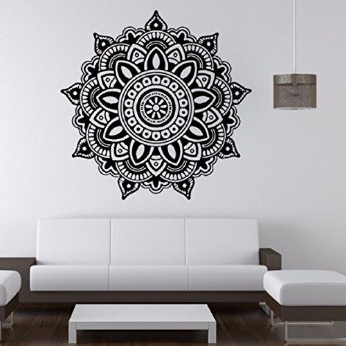 [해외]로터스 만다라 패턴 벽 스티커, Ikevan 22.4 x 22.4 검은 벽 스티커 환경 보호 PVC 스티커 벽 데칼 스티커 홈 오피스 벽/Lotus Mandala Pattern Wall Stickers,Ikevan 2