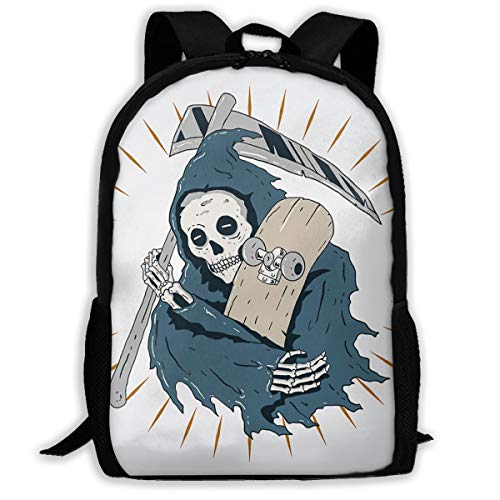 SARA NELL School Backpack Skateboard Grim Reaper Bookbag Casual Travel Bag For Teen Boys Girls (Backpack Girl Skateboard)