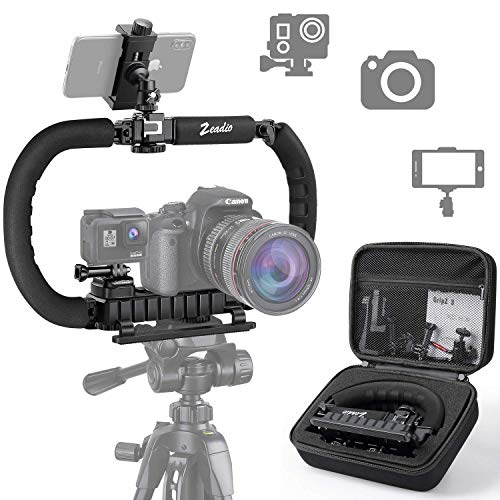 Zeadio Stabilizer for Camera Smartphone GoPro, Foldable Handle Grip Handheld Video Rig Steadicam for All GoPro, Camera, Camcorder, DSLR, Cell Phone, iPhone, Huawei, Samsung etc
